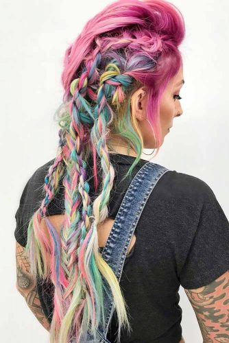 Bright Colorful Hairstyles Fishtail #fauxhawk #braids