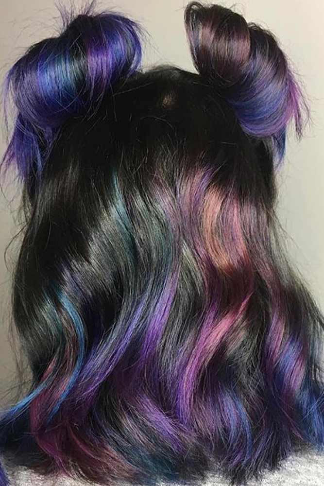 Oil Slick Hair With Brunette Roots