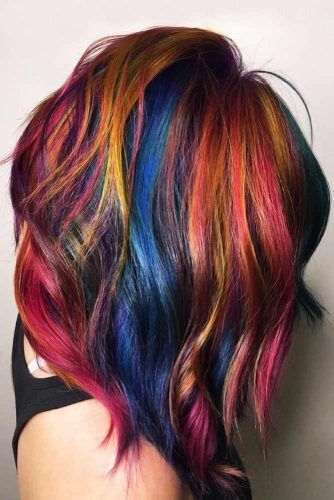 Oil Slick With Red Accents Medium Length #oilslickhair