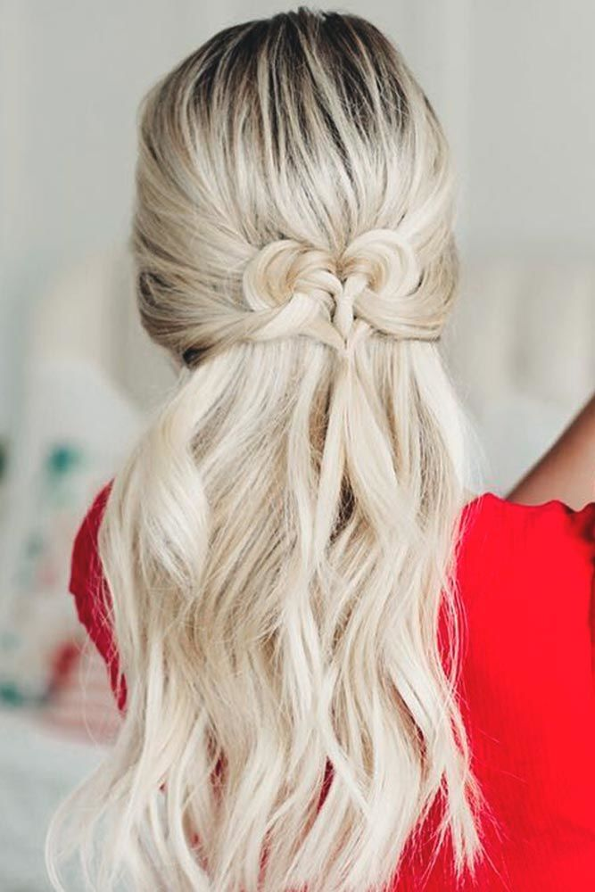 Twisted Half Down Prom Hairstyles Platinum Blonde #promhairstyles #promhair