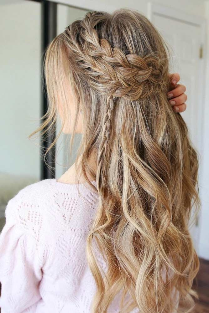 Girly Double Braided Half Up Half Downs Crown #promhairstyles #promhair
