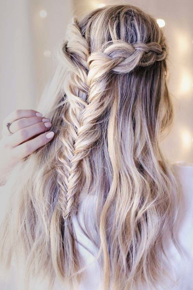 Girly Double Braided Half Up Half Downs Fishtail #promhairstyles #promhair