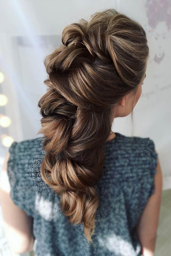 Clipped Long Prom Hairstyles Brown #promhairstyles #promhair