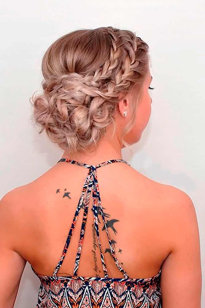 Crown Braid With Bun Prom Hairstyles Double #promhairstyles #promhair