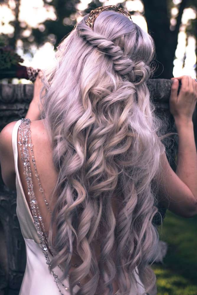 Twisted Half Down Prom Hairstyles Lilac #promhairstyles #promhair
