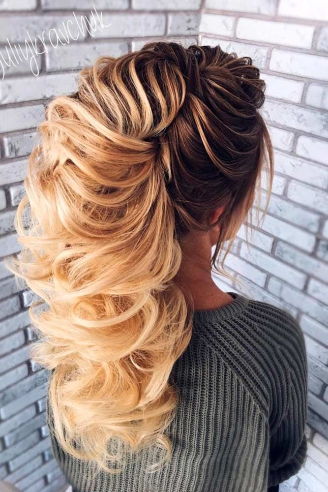Clipped Long Prom Hairstyles Ombre #promhairstyles #promhair