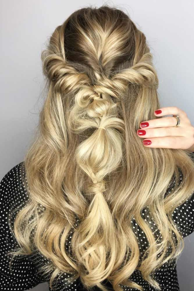 Twisted Half Down Prom Hairstyles Honey Blonde #promhairstyles #promhair
