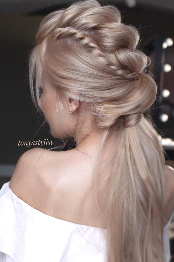 Exquisite Low Twisted Ponytails Prom Hairstyles Faux Hawk #promhairstyles #promhair