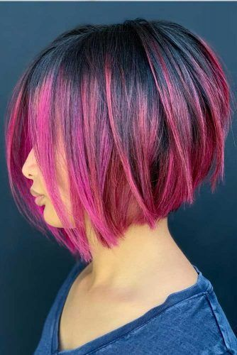 Angled Colored Short Bob #shortbob #shortbobhairstyles #shorthairstyles #hairstyles