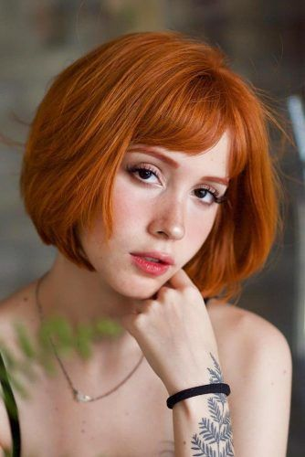Auburn Short Bob With Bangs #shortbob #shortbobhairstyles #shorthairstyles #hairstyles