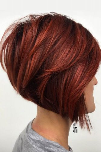 Fiery Red Stacked Short Layered Bob  #shortbob #shortbobhairstyles #hairstyles #bobhairstyles