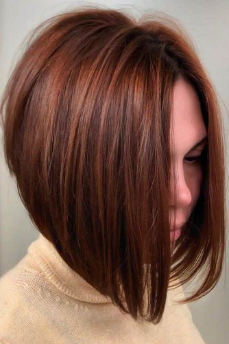 A-Line Bob Red #roundface #shorthair #faceshapehairstyles