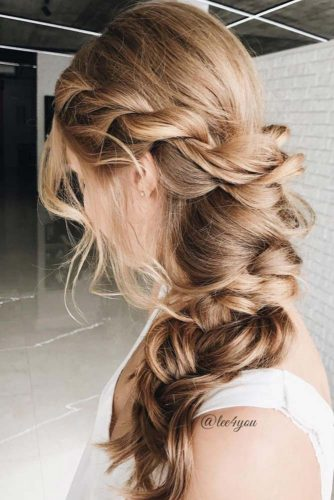 Romantic Messy Braids For Blonde Bride #braids #messybraids #weddingbraids