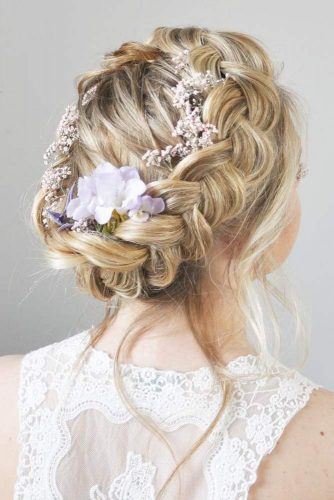 Braided Wedding Hair With Flowers And Crystal Headpieces For Gorgeous Look #braids #braidedcrown #weddingbraids #flowers