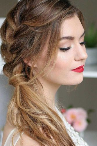 Side Swept Ponytail With Braid picture 2