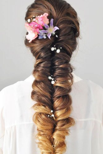Braided Wedding Hair With Flowers And Crystal Headpieces For Romantic Brides #braids #flowers #weddingbraids