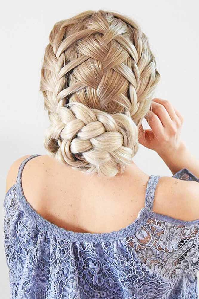 Combined Hairstyles With French Braids Criss Cross #braids #bun #updo