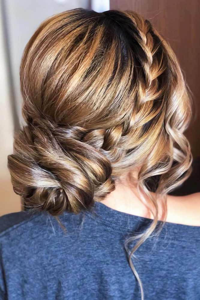 Crown Braids Into Low Buns Brunette #braids #frenchbraids