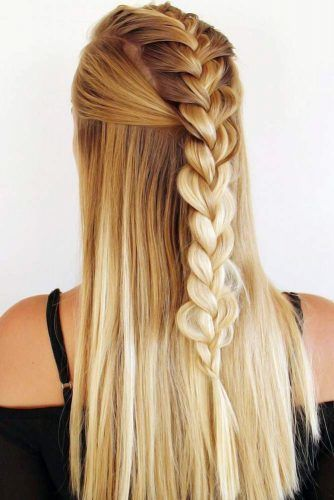 Faux Hawk Style Half-Up Blonde #braids #frenchbraids