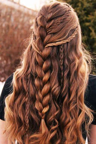 Faux Hawk Style Half-Up Brown #braids #frenchbraids