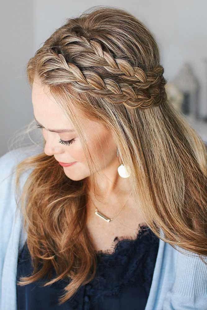 Half-Up French Braid Double #braids #frenchbraid