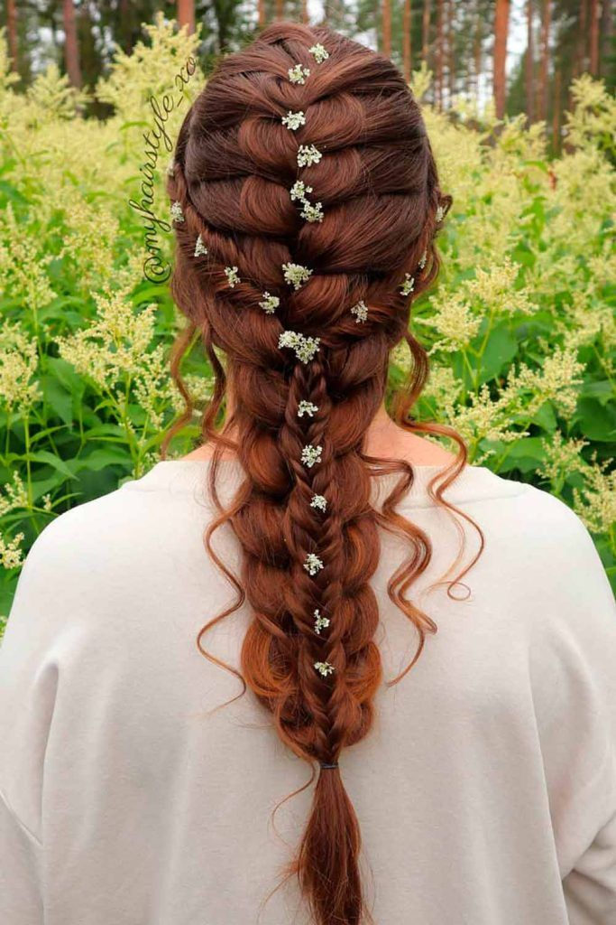 Combined Hairstyles With French Braids With Flowers