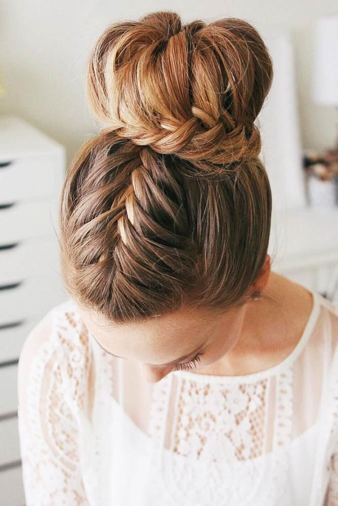 Combined Hairstyles With French Braids FIshtail #braids #bun #updo