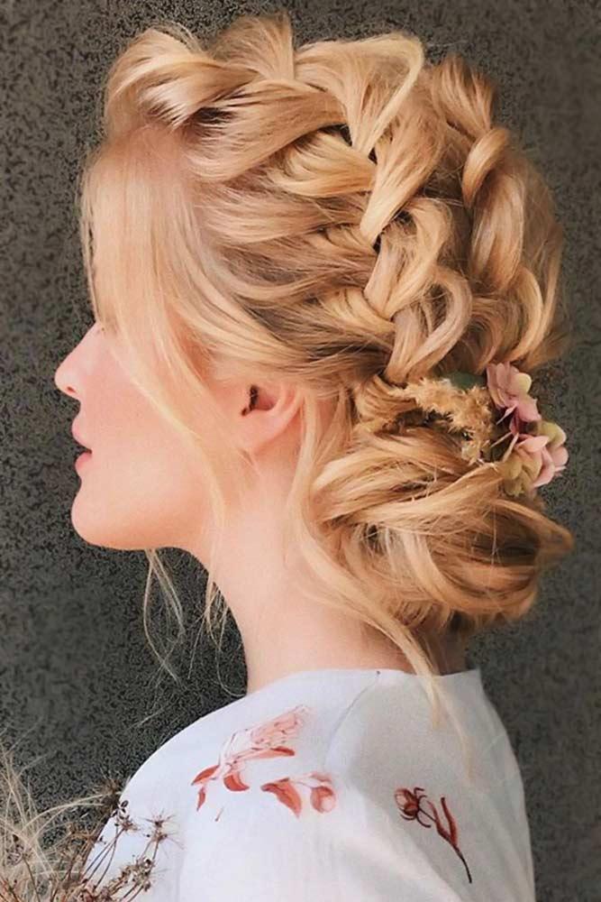 Updo French Braids Hairstyles Flowers #braids #frenchbraid