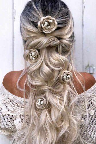 Blonde Half Up Half Down Wedding Hairstyles With Hair Flowers #halfuphairstyles #hairstyles #weddinghairstyles
