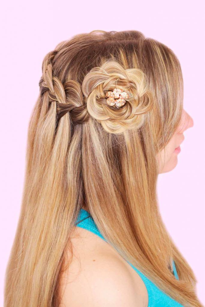 Half Up Half Down Wedding Hairstyles With Hair Flowers