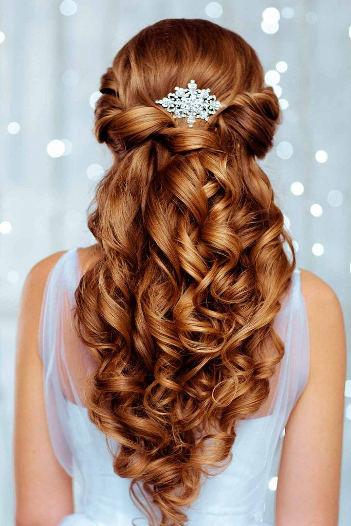 Pretty Half Up Half Down Wedding Hairstyles For A Bride