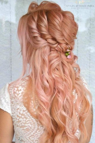Half Up Half Down Wedding Hairstyles For A Bride Who Wants To Look Gorgeous #pinkhair #twistedhair #longhair