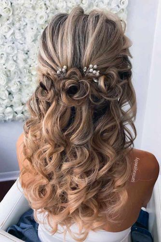 Half Up Half Down Wedding Hairstyles With Hair Flowers #halfuphairstyles #hairstyles #weddinghairstyles