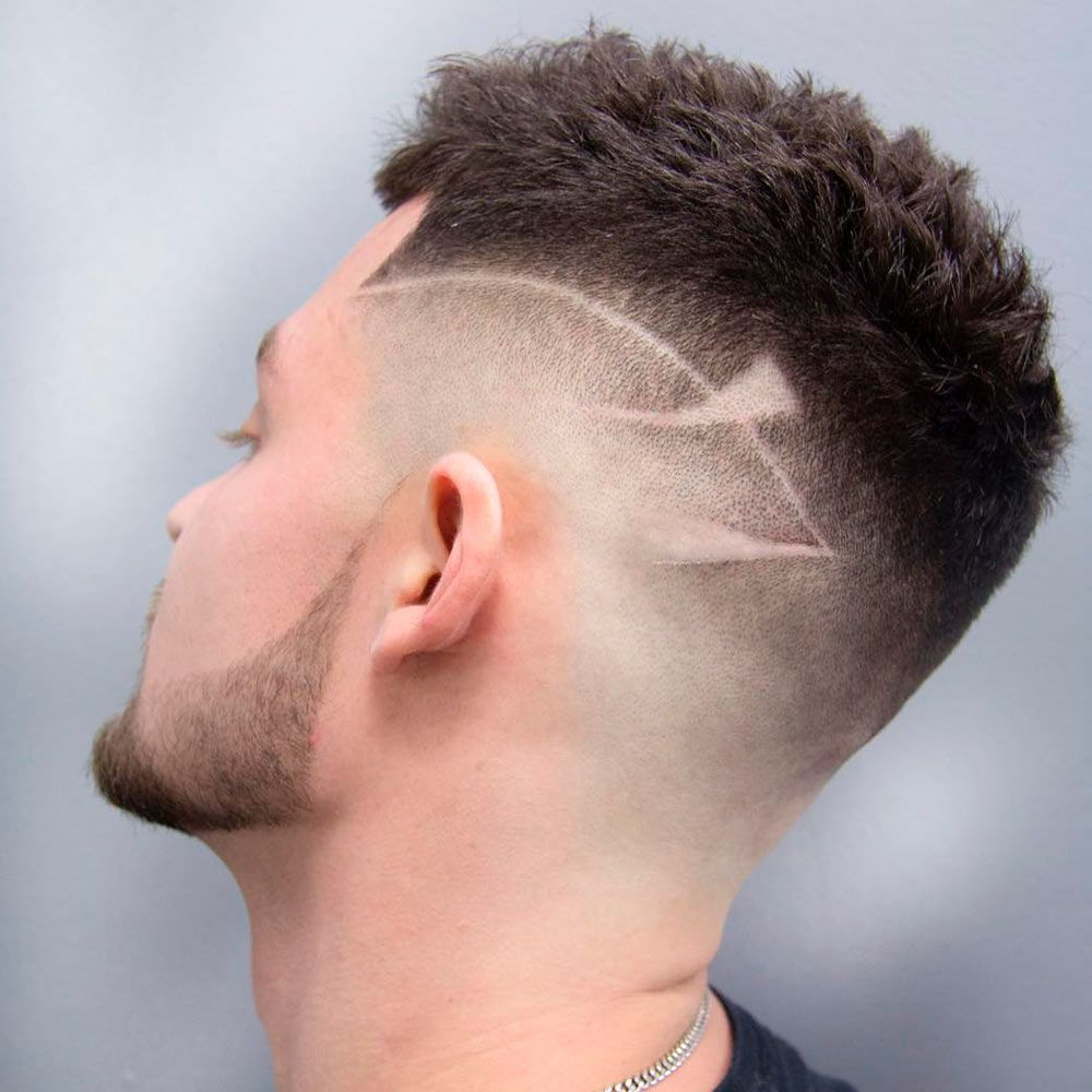 High And Tight Cut With Hair Tattoo And Spiky Top