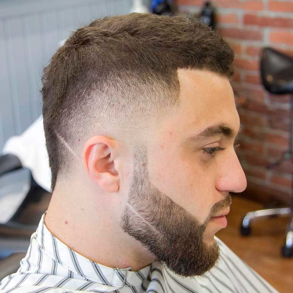 Skin Fade With Short Textured Top And Beard