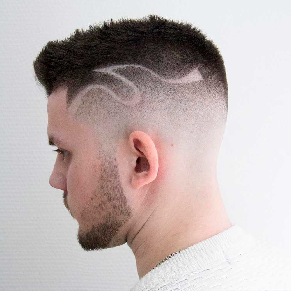 High And Tight Cut With Hair Tattoo