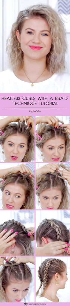 How To Heatless Curls With A Braid Technique #howtocurlshorthair #shorthairstyles #hairstyles #curlyhair #tutorial