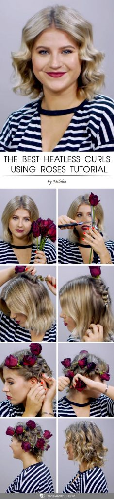How To Heatless Curls Using Flowers #howtocurlshorthair #shorthairstyles #hairstyles #curlyhair #tutorial