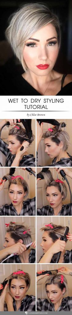 Wet To Dry Styling #shorthair #tutorial #hairstyles
