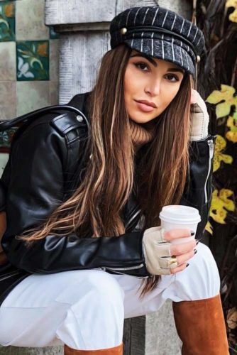Berets With A Visor Long Brown Hair #hairaccessories #beret