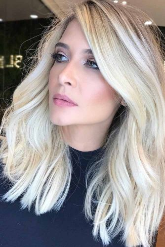 Icy Blonde With Dark Blonde Roots #blondehair