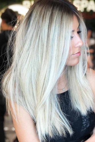 Icy Silver And Dark Ash Blonde Platinum Streaks #blondehair #highlights