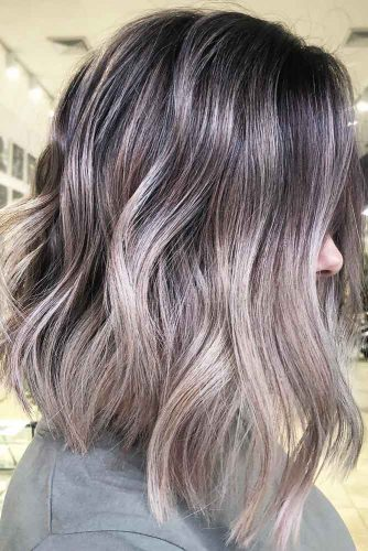 Salt And Pepper Smokey Platinum Blonde Ombre Fade #blondehair #ombre #brunette