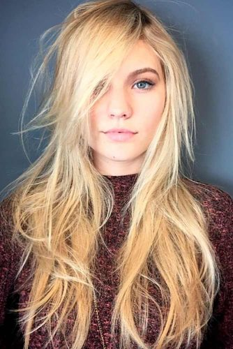 Blonde Long Shag With Bangs #shaghaircut #haircuts #longhair