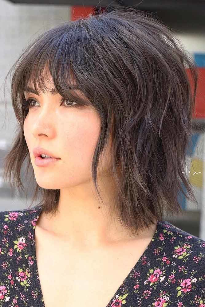 Short Brown Bob With Bangs