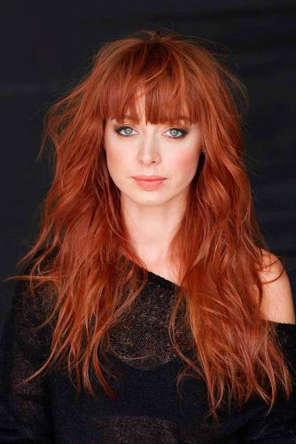 Auburn Long Shag With Bangs #shaghaircut #haircuts #longhair