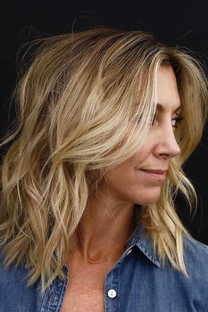Blonde Hair With Medium Shag Layered Haircut