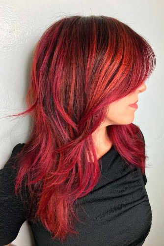 Red Long Shag With Bangs #shaghaircut #haircuts #longhair