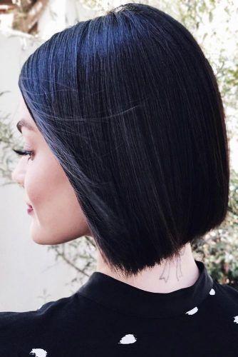Inky Black Short Bob #brunette #blackhair