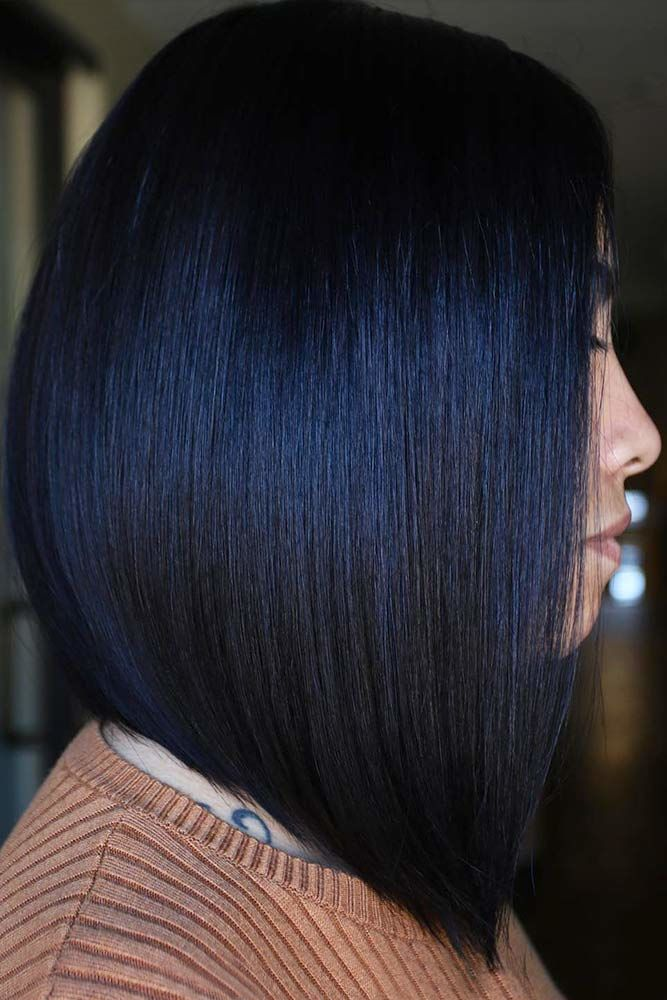 Inky Bllack Inverted Bob #springhaircolors